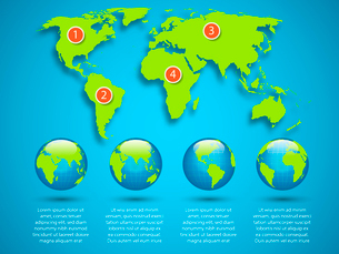 World map with globe infographic template vector illustrationのイラスト素材 [FYI03069639]