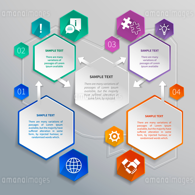 Abstract paper hexagons geometric shape infographics with business elements design template vector iのイラスト素材 [FYI03069640]
