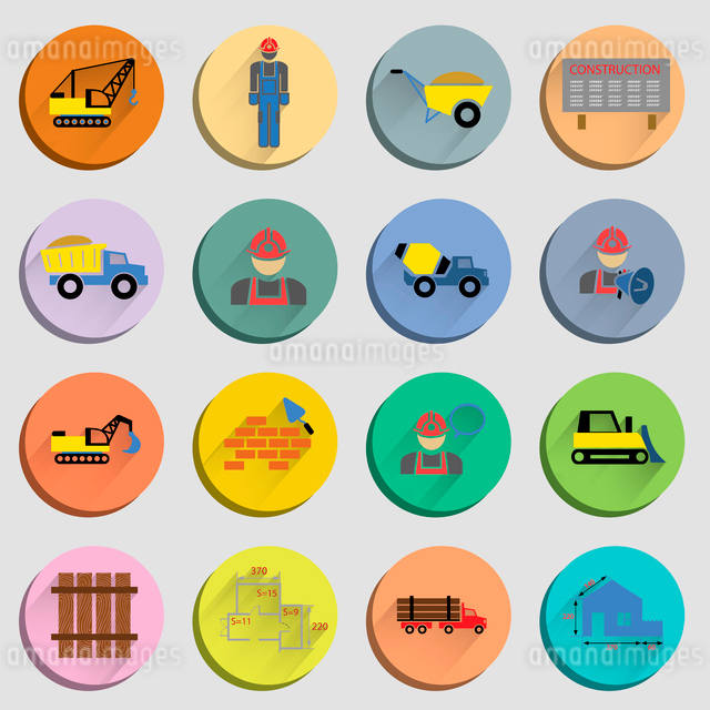Construction flat icons set of site crane truck and mixer isolated vector illustrationのイラスト素材 [FYI03069641]