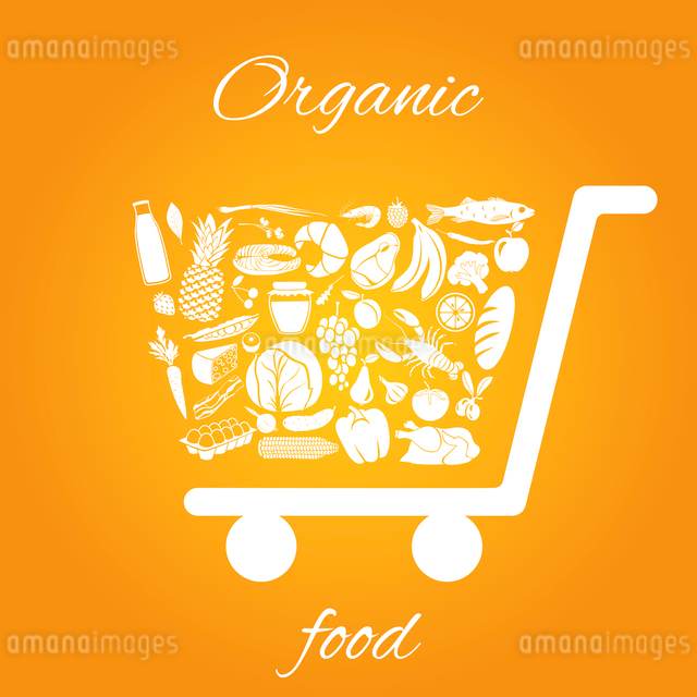 Shopping cart made of fruits vegetables meat and grocery healthy organic food concept vector illustrのイラスト素材 [FYI03069657]