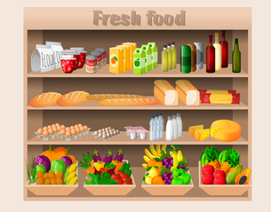 Supermarket shelves with food drinks fruits vegetables bread milk and grocery vector illustrationのイラスト素材 [FYI03069658]