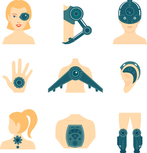 Human robot futuristic digital body parts flat icons set  isolated vector illustrationのイラスト素材 [FYI03069669]