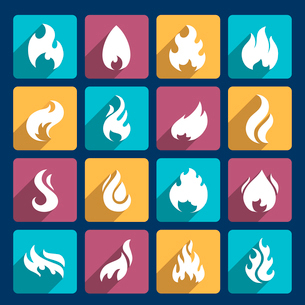 Fire flame burn flare torch hell fiery square long shadow icons set isolated vector illustrationのイラスト素材 [FYI03069680]