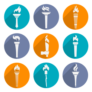 Fire glowing flame retro winner torch icons set isolated vector illustrationのイラスト素材 [FYI03069681]
