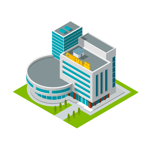Modern 3d urban cinema theatre building with architectural elements isometric isolated vector illustのイラスト素材 [FYI03069682]