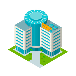 Modern 3d urban business center office building isometric isolated vector illustrationのイラスト素材 [FYI03069686]