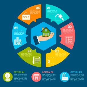Real estate infographic set with pie chart options vector illustrationのイラスト素材 [FYI03069699]
