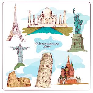 World landmark sketch set of taj mahal pisa tower isolated vector illustrationのイラスト素材 [FYI03069702]