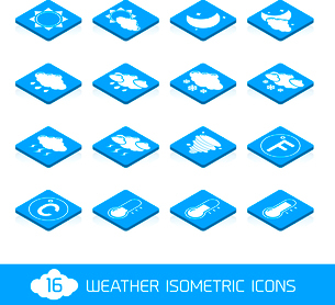 Weather forecast white and blue isometric icons buttons set vector illustrationのイラスト素材 [FYI03069708]