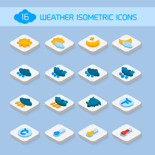 Weather forecast isometric icons buttons set for climate and temperature report vector illustrationのイラスト素材 [FYI03069710]