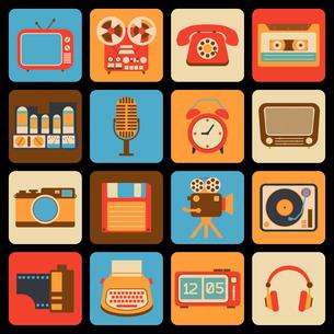 Vintage retro gadgets icons set of radio vinyl player alarm clock isolated vector illustrationのイラスト素材 [FYI03069712]