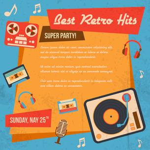 Retro music poster with vintage vinyl player headphones icons vector illustrationのイラスト素材 [FYI03069718]
