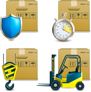 Logistic shipping realistic icons set of cardboard packages  isolated vector illustrationのイラスト素材 [FYI03069719]
