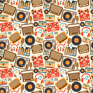 Retro music seamless pattern with vinyl player cassette recorder vintage microphone vector illustratのイラスト素材 [FYI03069720]