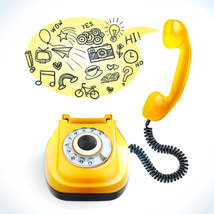 Retro style yellow color telephone with chat bubble doodles vector illustrationのイラスト素材 [FYI03069725]