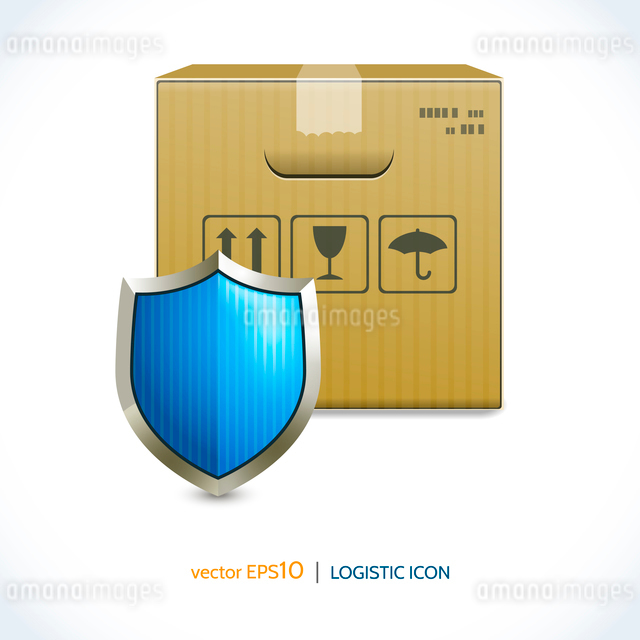 Logistic shipping realistic cardboard box and shield icon isolated on white background vector illustのイラスト素材 [FYI03069726]