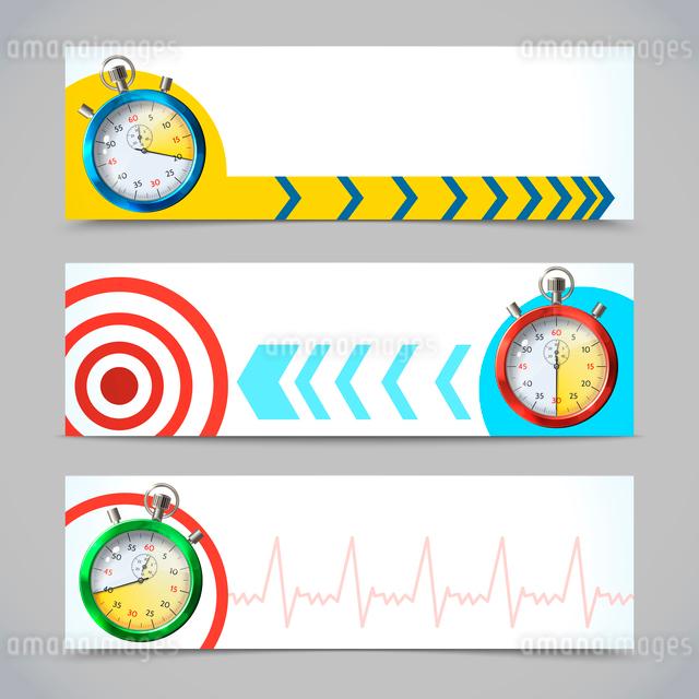 Realistic metallic stopwatch horizontal banners set isolated vector illustrationのイラスト素材 [FYI03069727]
