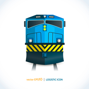 Logistic shipping realistic train front icon isolated on white vector illustration.のイラスト素材 [FYI03069730]