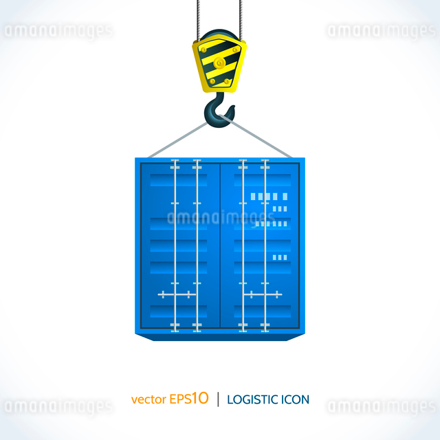 Logistic shipping realistic container hanging on crane hook icon isolated on white background vectorのイラスト素材 [FYI03069731]