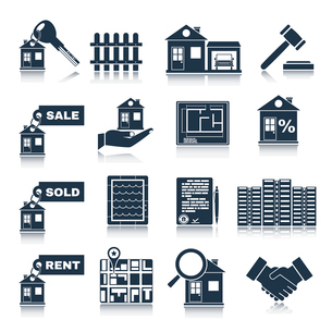 Real estate black icons set of house apartment and commercial property isolated vector illustrationのイラスト素材 [FYI03069734]