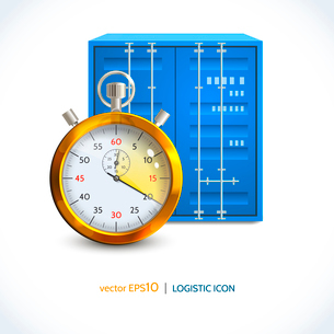 Logistic shipping realistic container hanging on crane hook icon isolated on white background vectorのイラスト素材 [FYI03069737]