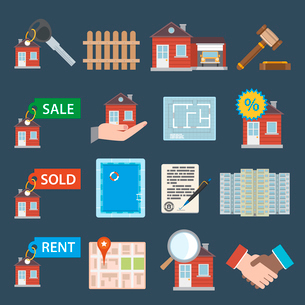 Real estate icons set of sale sold rent property apartment isolated vector illustrationのイラスト素材 [FYI03069741]