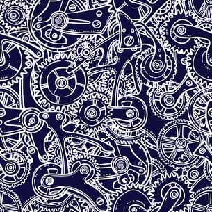 Sketch grunge cogwheel gears mechanisms engineers seamless pattern vector illustrationのイラスト素材 [FYI03069749]