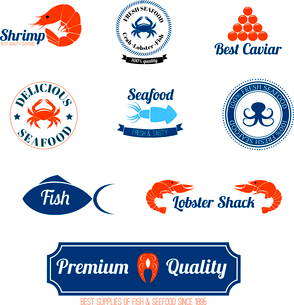 Seafood restaurant supplies stores fresh quality crab lobster salmon fish labels icons set abstractのイラスト素材 [FYI03069752]