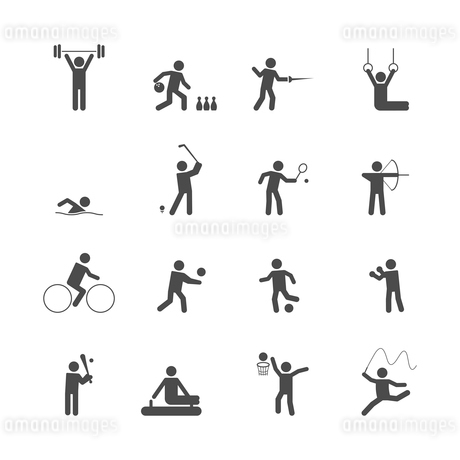 Decorative swimming boxing weihgtlifting sport symbols internet icons set silhouette graphic isolateのイラスト素材 [FYI03069755]