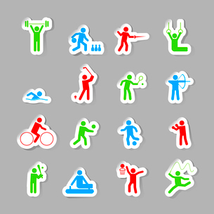 Decorative gymnastics soccer volley ball sport competitions design network symbols pictograms collecのイラスト素材 [FYI03069757]