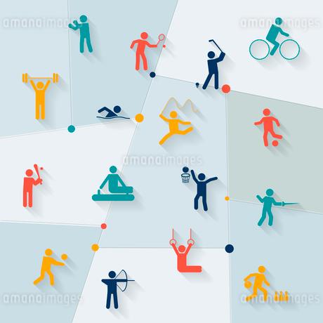 Athletics golf and rhythmic gymnastics sportive tournament elements symbols distinctive pictograms cのイラスト素材 [FYI03069758]