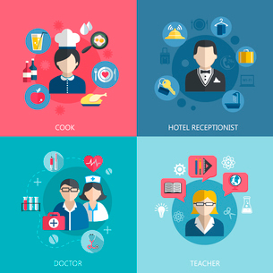 People professions concept flat icons set of cook doctor hotel receptionist and school teacher jobsのイラスト素材 [FYI03069767]