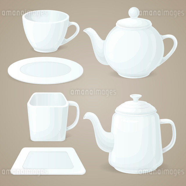 Realistic white crockery set of tea pot and coffee cup isolated vector illustrationのイラスト素材 [FYI03069769]