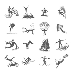 Extreme sports icons sketch of diving climbing sailing isolated doodle vector illustrationのイラスト素材 [FYI03069777]