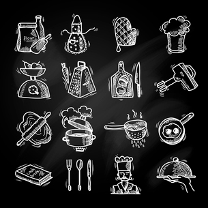Cooking process delicious food sketch chalkboard icons set isolated vector illustrationのイラスト素材 [FYI03069784]