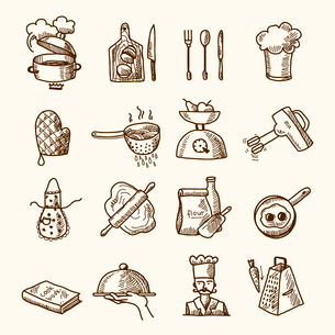 Cooking process delicious food sketch icons set isolated vector illustrationのイラスト素材 [FYI03069786]