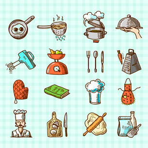 Cooking process delicious food sketch colored icons set isolated on squared background vector illustのイラスト素材 [FYI03069787]