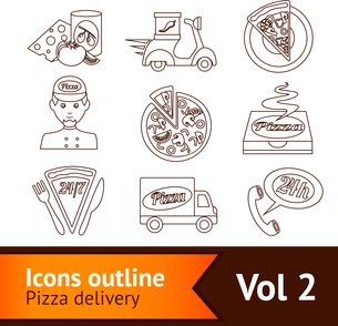 Fast food pizza delivery ingredients outline icons set isolated vector illustrationのイラスト素材 [FYI03069788]
