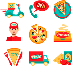 Fast food pizza delivery decorative icons set isolated vector illustrationのイラスト素材 [FYI03069790]