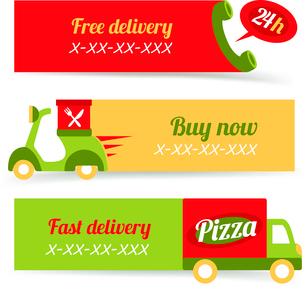 Fast food pizza free delivery 24h banners set isolated vector illustrationのイラスト素材 [FYI03069791]