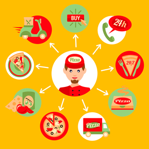 Fast food pizza delivery boy decorative icons set isolated vector illustrationのイラスト素材 [FYI03069792]