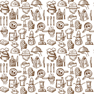 Cooking process delicious food sketch icons seamless pattern vector illustrationのイラスト素材 [FYI03069793]