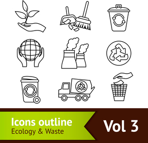 Ecology and waste outline icons set of dustpan brush globe isolated vector illustrationのイラスト素材 [FYI03069797]