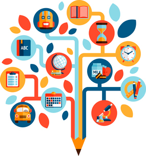 Tree with education icons studying knowledge symbol vector illustrationのイラスト素材 [FYI03069798]