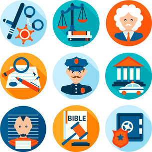 Law legal justice police investigation and legislation flat icons set isolated vector illustration.のイラスト素材 [FYI03069801]