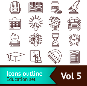 Education knowledge science college and elementary school outline icons set isolated vector illustraのイラスト素材 [FYI03069803]
