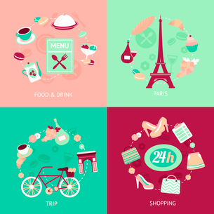 Paris city food drink shopping trip decorative elements set isolated vector illustrationのイラスト素材 [FYI03069804]