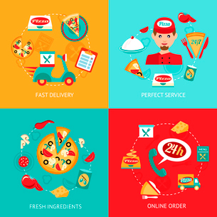 Fast food pizza delivery perfect service fresh ingredients online order decorative icons set isolateのイラスト素材 [FYI03069808]