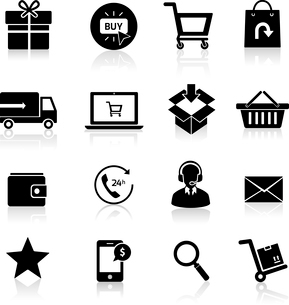 E-commerce shopping icons set of delivery support black isolated vector illustration.のイラスト素材 [FYI03069813]