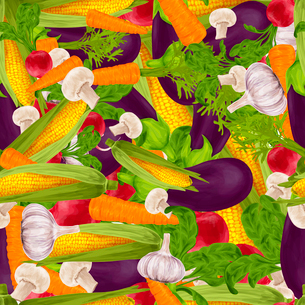 Vegetable organic food realistic seamless background with champignon eggplant radish vector illustraのイラスト素材 [FYI03069833]